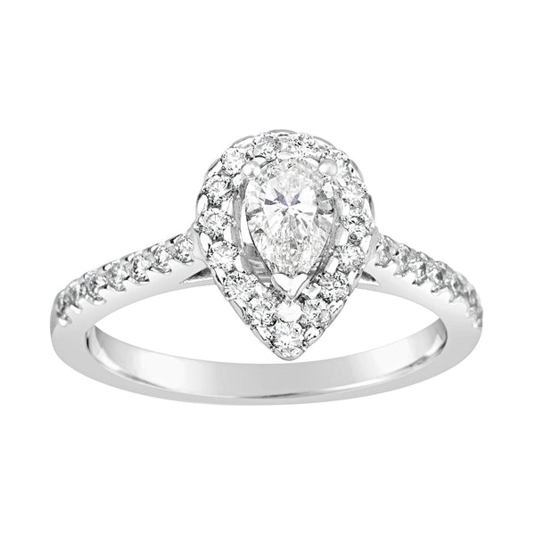 18ct White Gold Pear Cut Diamond Ring