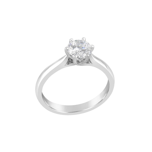 18ct White Gold Round Brilliant Cut Diamond Solitaire Ring