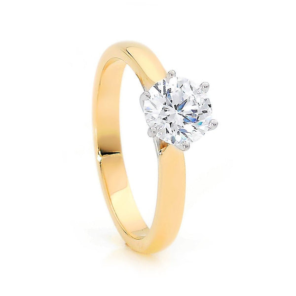 18ct Yellow Gold Round Brilliant Cut Diamond Solitaire Ring