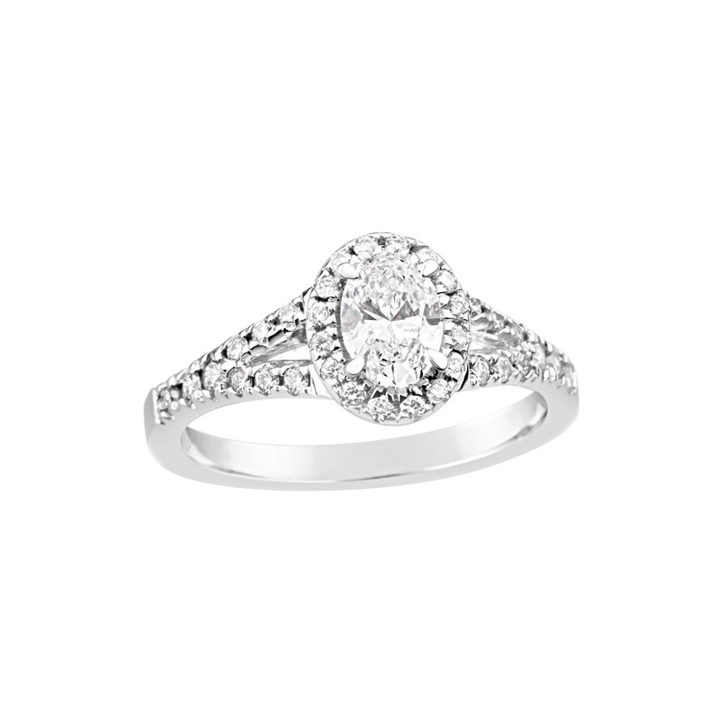 18ct White Gold Oval Cut Diamond Ring