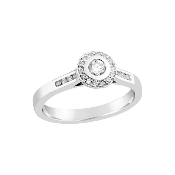 9ct White Gold Round Brilliant Cut Diamond Ring