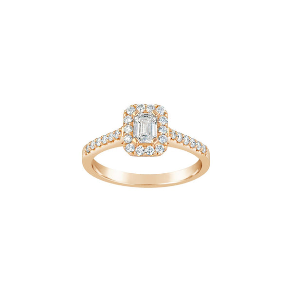 18ct Rose Gold Emerald Cut Diamond Ring
