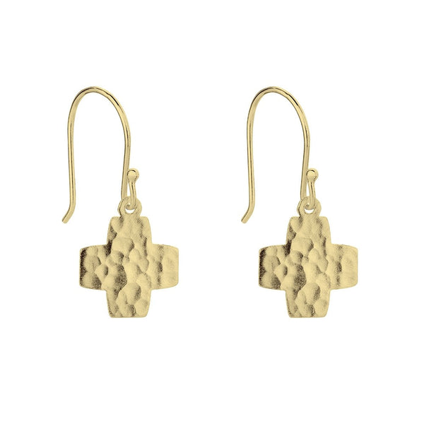 Gold Hammered Cross Drop Earrings