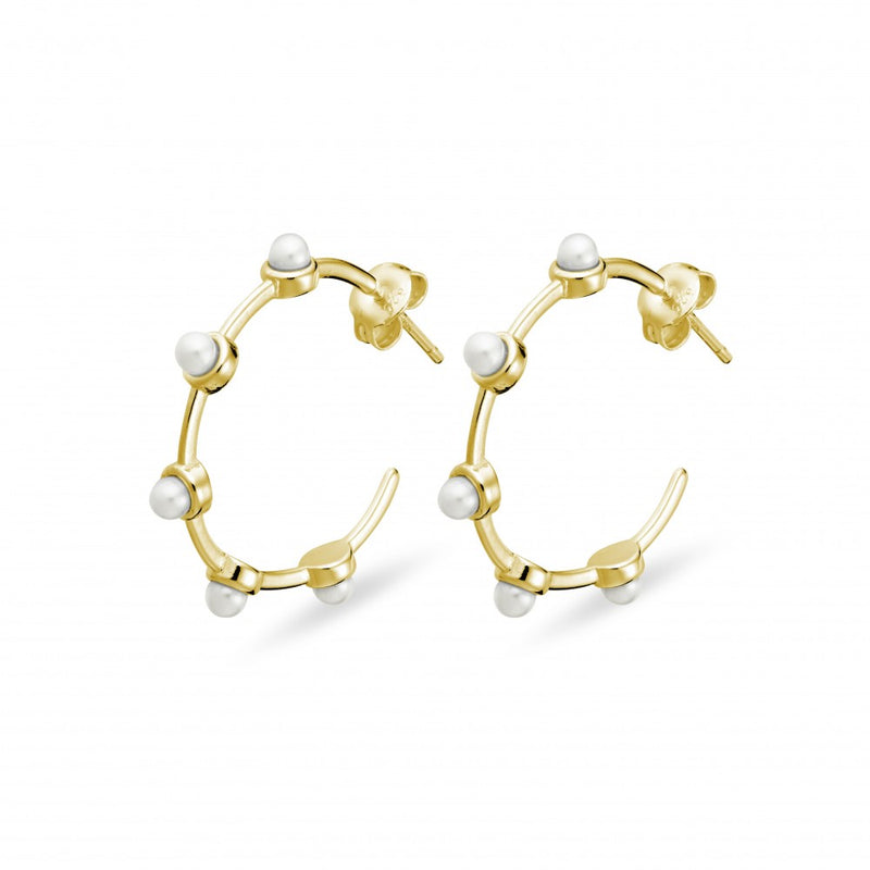 Yellow Gold Plated Pearl Hoop Earrings