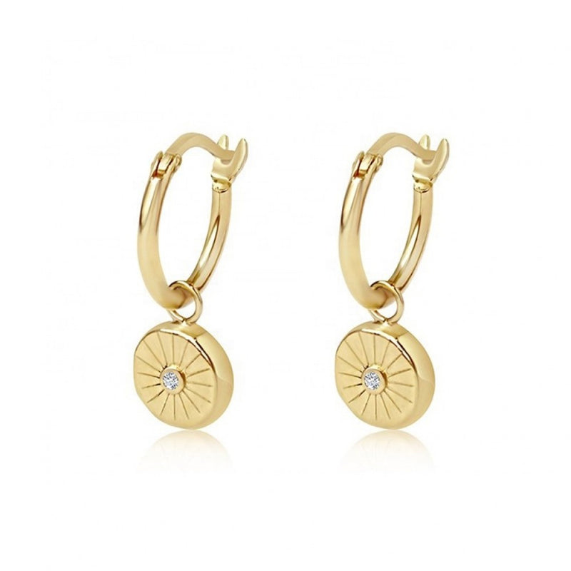 Sterling Silver Yellow Gold Plated Drop Earrings