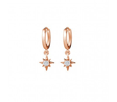 Rose Gold Plated Star Drop Earrings