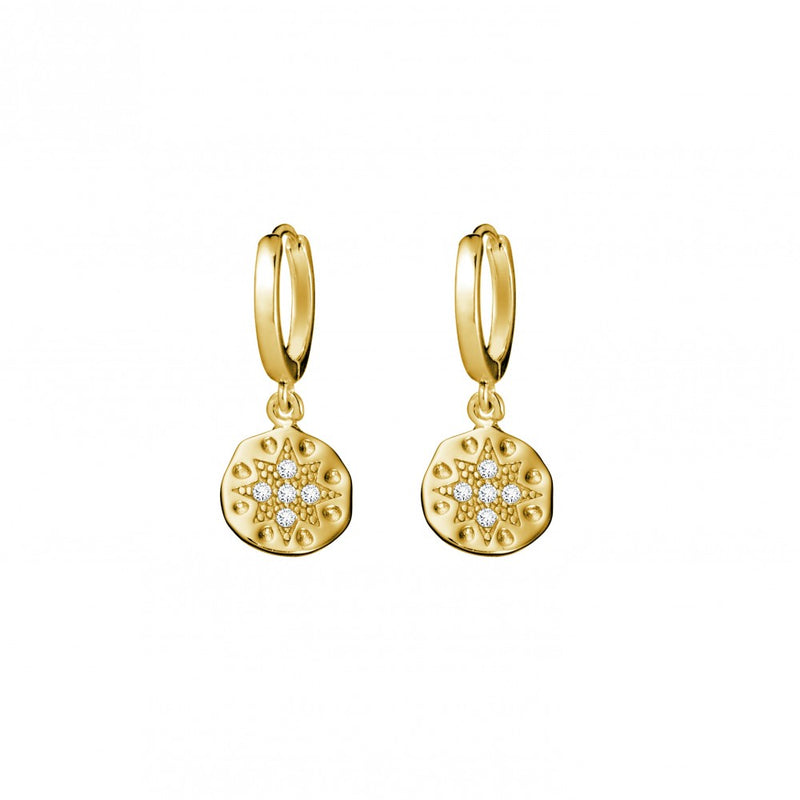 Gold Plated Circle Star Organic Disc Drop Earrings
