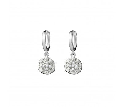 Sterling Silver Circle Star Organic Disc Drop Earrings