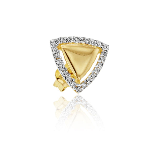 9ct Yellow Gold CZ Triangle Stud Earrings