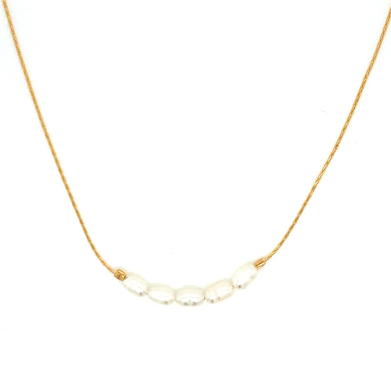 Gold Plated Pearl Seed Beaded Necklace