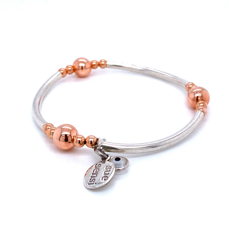 Sue Sensi Fabulous Sterling Silver and Rose gold Bracelet
