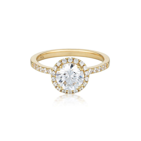 Georgini Gold Round Brilliant Halo ring