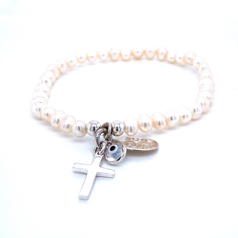 Sue Sensi Children's Pearl Ice-cream Heart/Cross Bracelet