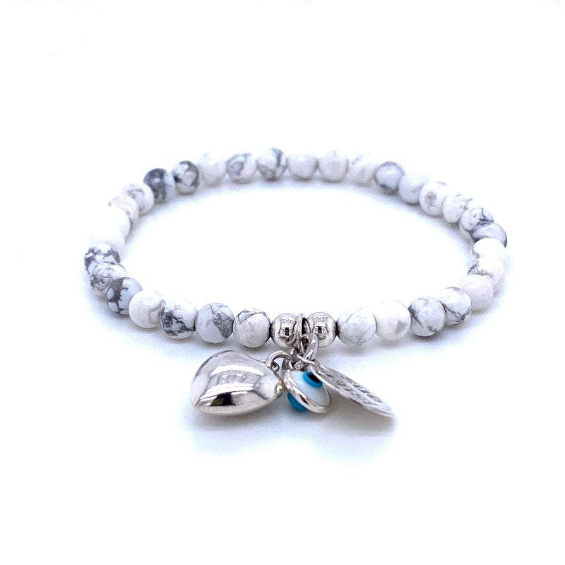 Sue Sensi Children's White Howlite Ice-cream Heart/Cross Bracelet