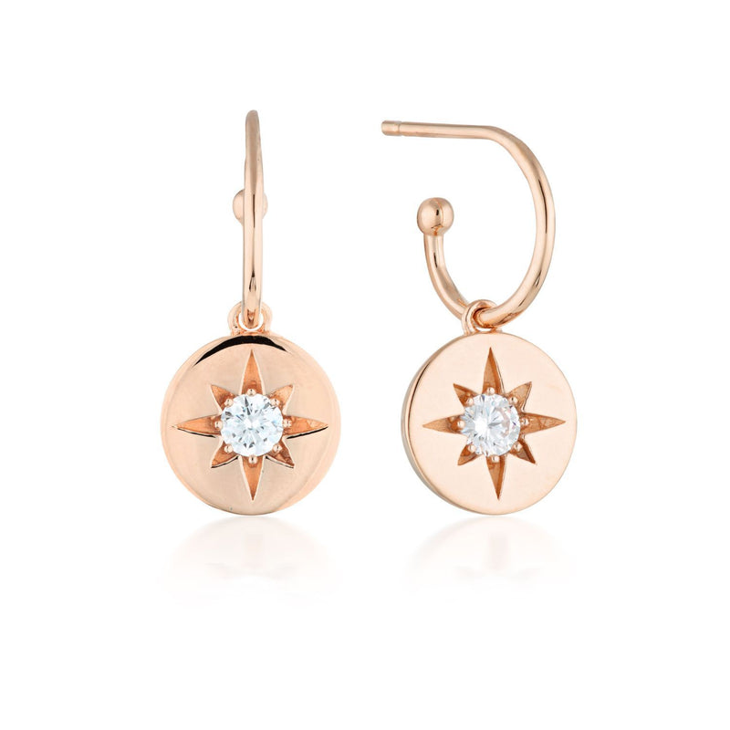 Georgini Stellar Lights rose gold drop hoop earrings