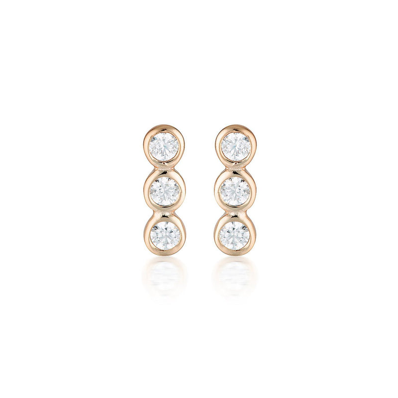 Georgini Rose Gold Trio Stud earrings