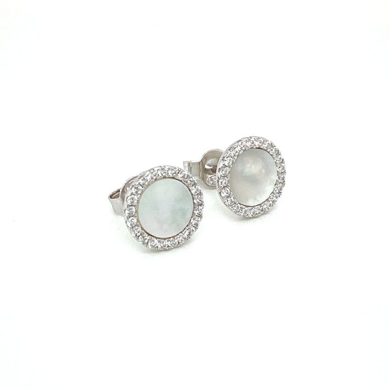 Sterling Silver Mother of Pearl Circle Stud Earrings