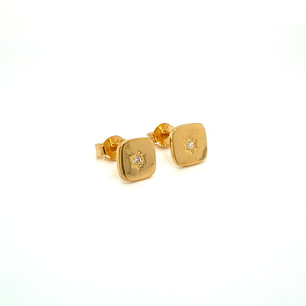 Yellow Gold Plated Square Stud Earrings