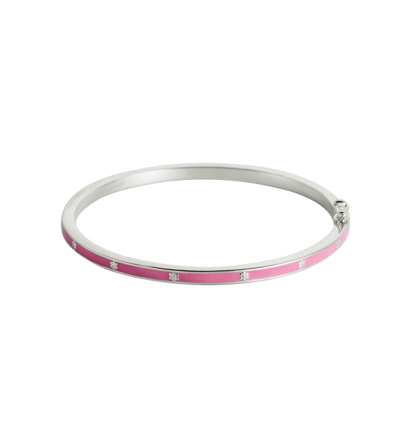 Little Kirstin Ash Pink Flower Enamel Bangle