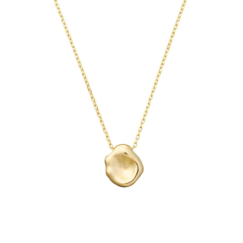 Yellow Gold Plated Organic Disc Necklace