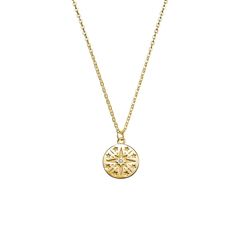 Yellow Gold Plated Star Disc Necklace