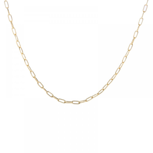 Gold Plated Oblong Link Chain Necklace