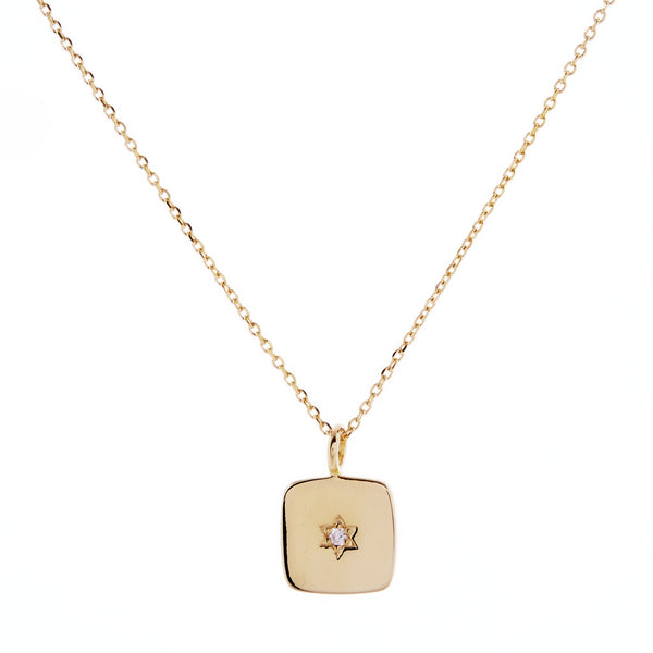 Yellow Gold Plated Square Necklace