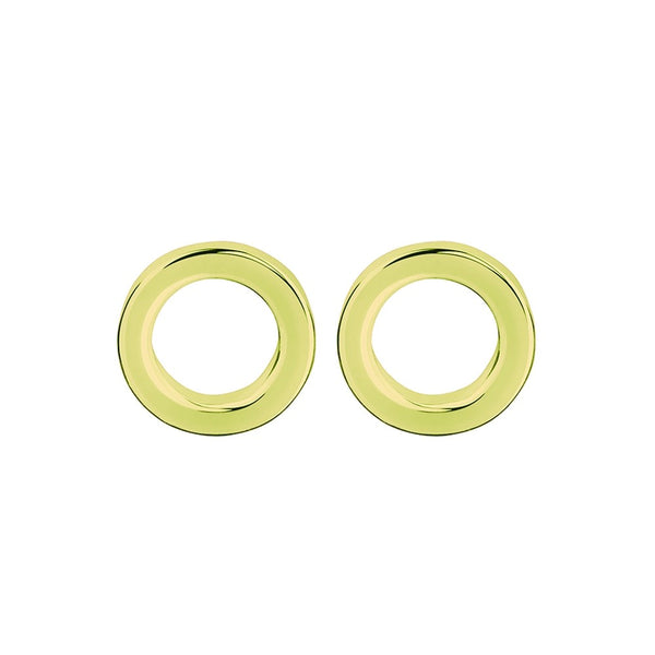 Yellow Gold Plated Open Circle Stud Earrings