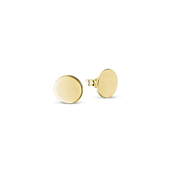 Yellow Gold Plated Circle Stud Earrings