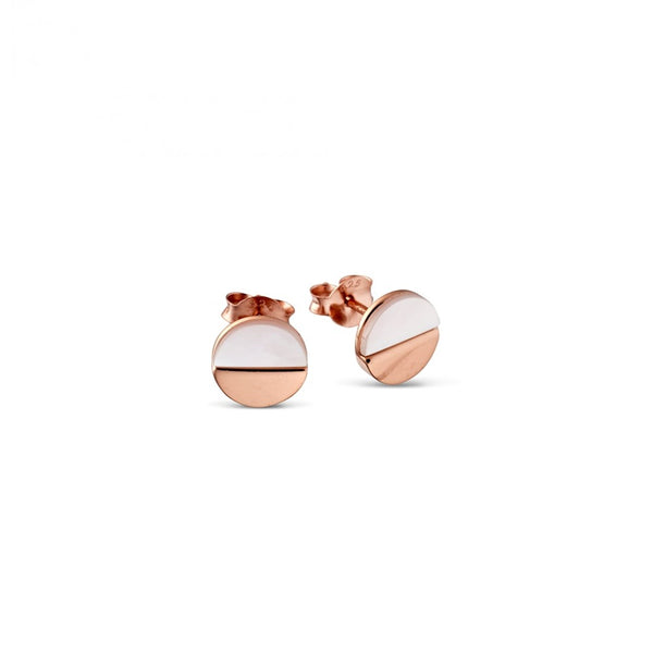 Rose Gold Plated and Mother of Pearl Stud Earrings