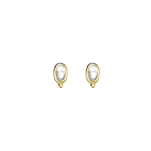 Yellow Gold Plated White Opalite Stud Earrings