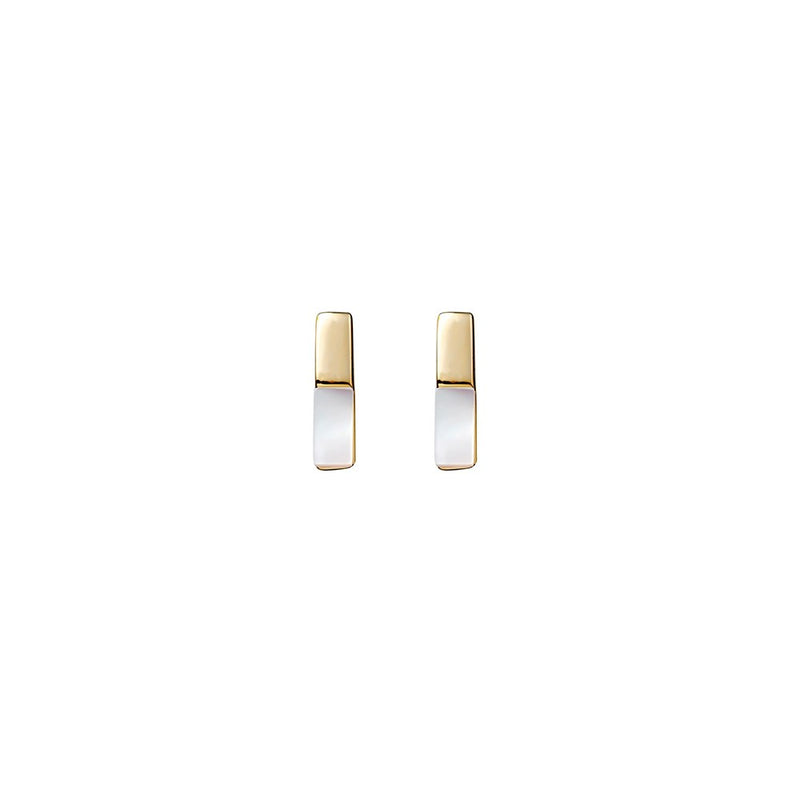 Yellow Gold Plated Mother of Pearl Bar Stud Earrings