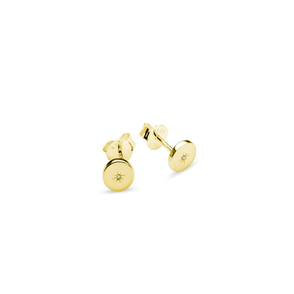 Yellow Gold Plated Disc Stud Earrings