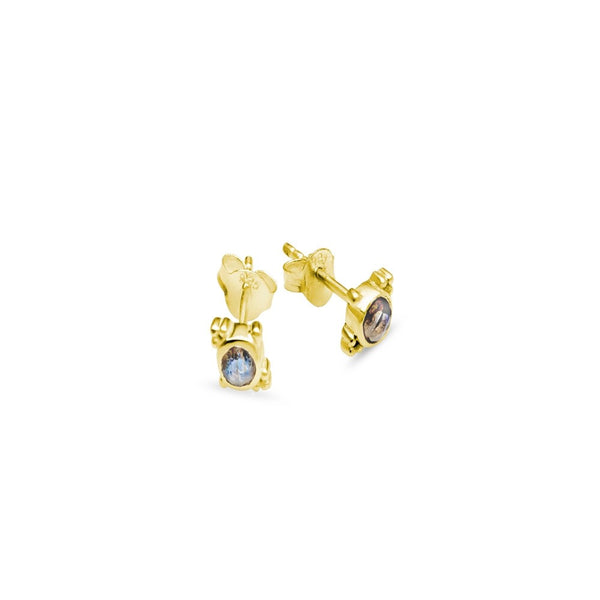 Yellow Gold Plated Labradorite Stud Earrings