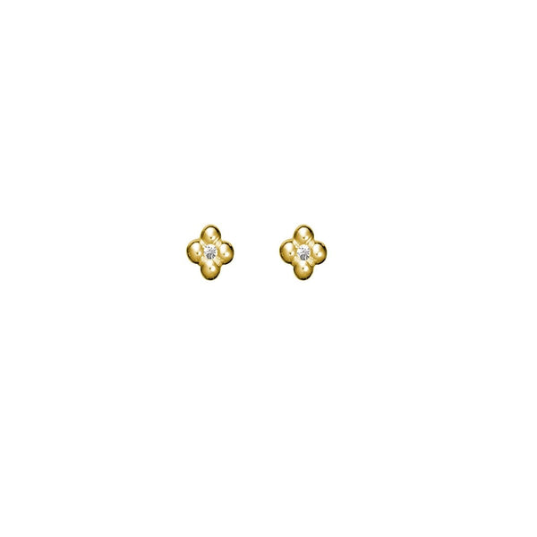 Yellow Gold Cubic Zirconia Stud Earrings