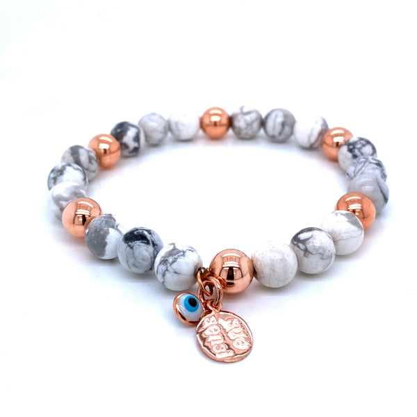Sue Sensi See You Around Rose Gold and White Howlite Bracelet
