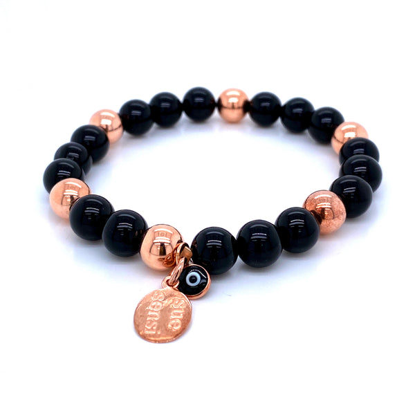 Sue Sensi See You Around Rose Gold and Onyx Bracelet