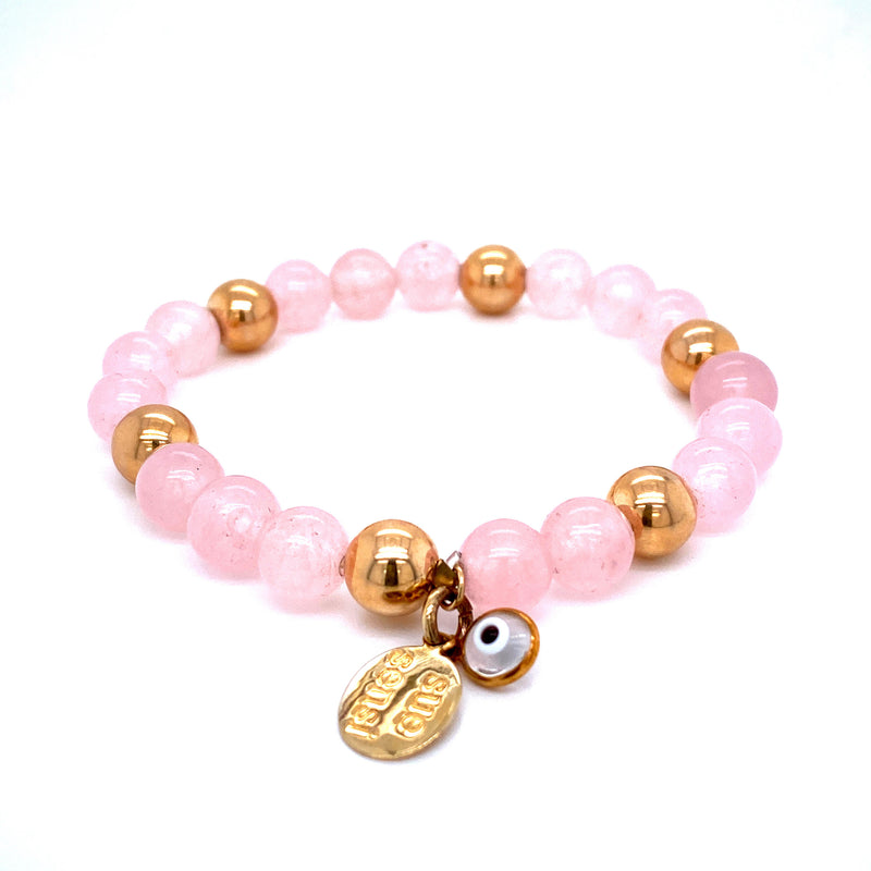 Sue Sensi See You Around Yellow Gold and Rose Quartz Bracelet