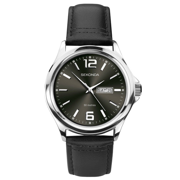 Sekonda Black Leather Watch