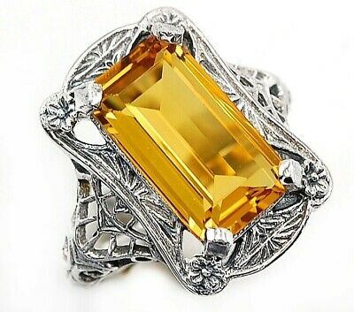 10CT Citrine 925 Solid Sterling Silver Art Deco Style Ring Jewelry Sz 6 PR40