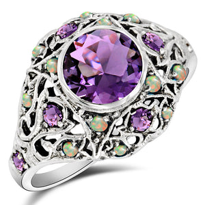 3CT Amethyst 925 Sterling Silver Art Deco Style Ring Sz 6 PO23