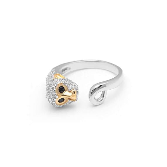 Cute Monkey Wrap Sterling Silver Ring CZ Two Tone Ginger Lyne Collection