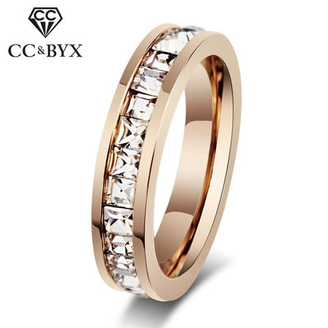 CC Couple anneaux pour femmes et hommes titane acier zircon cubique Super Flash simple rangée carré Diamant bijoux anneau à la mode CC982