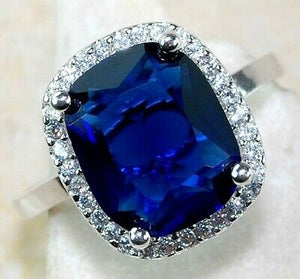 Flawless 3CT Blue Sapphire & Topaz 925 Sterling Silver Ring Jewelry Sz 7 PR4