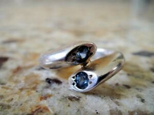 MODERNIST STERLING SILVER AND SAPPHIRE WRAP RING SIZE 7