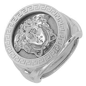 bague homme versace or blanc