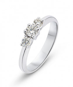 bague or blanc trilogie diamant