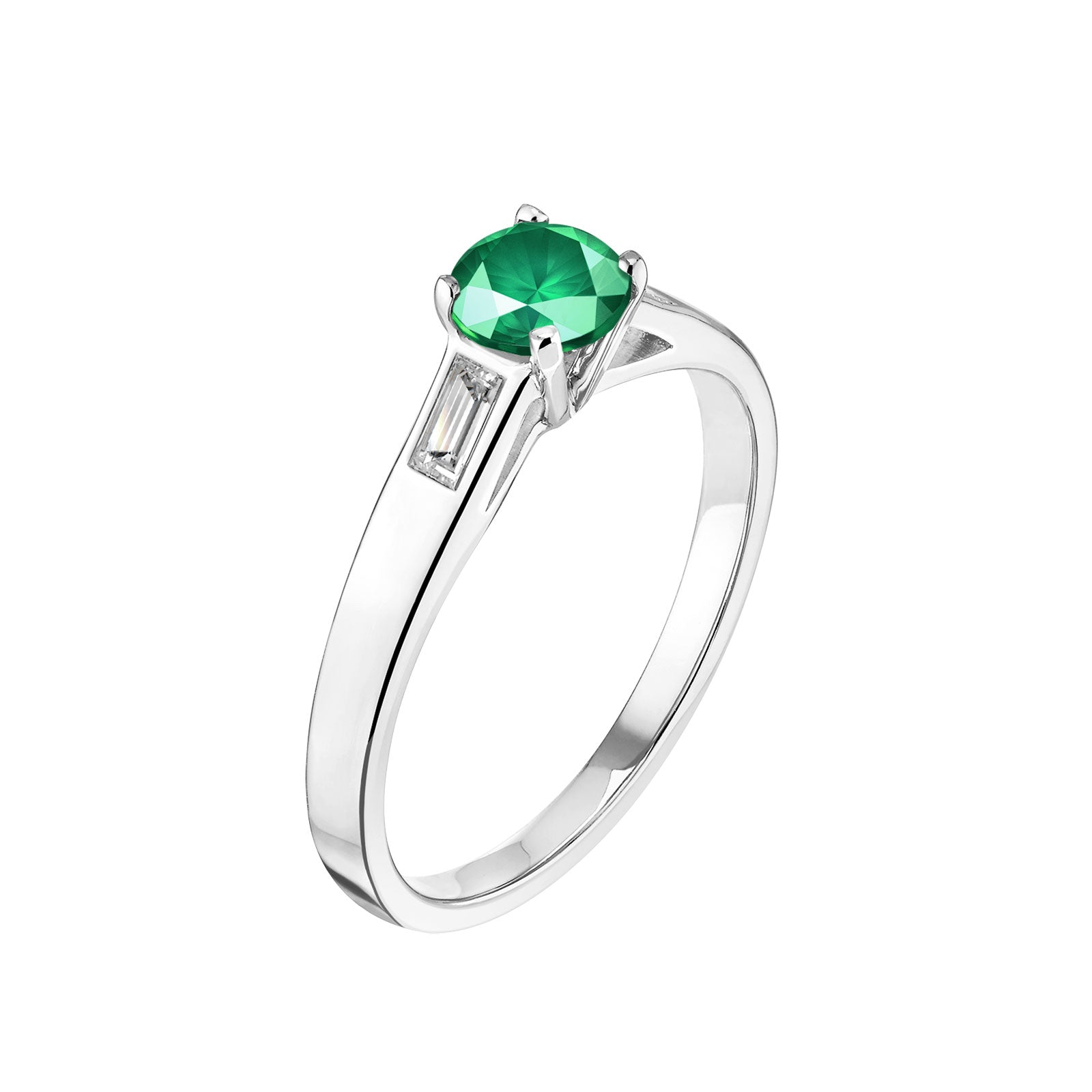 bague solitaire emeraude or blanc