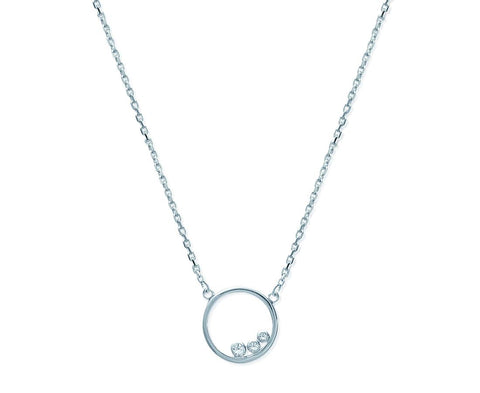 collier argent cercle strass