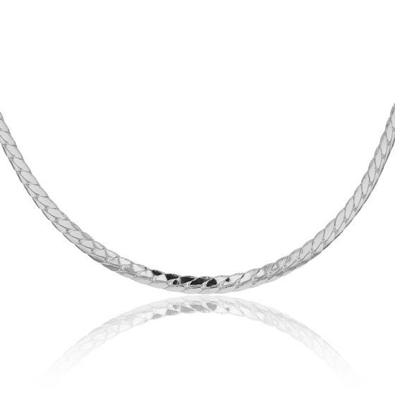 collier argent femme maille plate